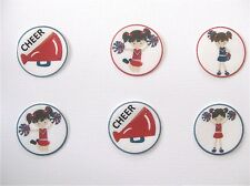 12 PRE CUT EDIBLE RICE WAFER PAPER CARD CHEER CHEERLEADING CUPCAKE CAKE TOPPERS
