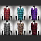 All Sizes 6 Colors Plaid Dress Vest & Necktie Set for Suit or Tuxedo $49