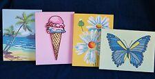 """Pottery Barn Teen Canvas Wall Art Set of 4 Butterfly Beach Daisy Mix Match 12x9"""""""