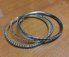 Steel Bangle Set - Copper, Gold and Gunmetal Finished Steel thin bangles