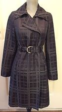 Mossimo Women's Gray Black Plaid Long Peacoat Rain Trench Coat Jacket Sz S!