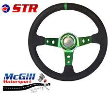 "STR 13"" 350mm Deep Dish Steering Wheel Drifting Rally Green Spars Black Suede"