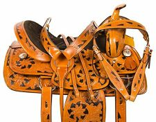NEW 16 WESTERN BARREL RACING PLEASURE TRAIL HORSE LEATHER SADDLE TACK SET