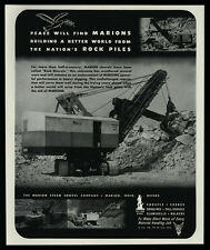 1944 MARION Steam Shovel Co. - Ohio - Cranes - Draglines - Rocks - VINTAGE AD
