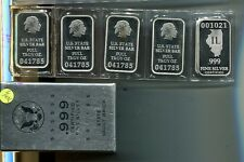 STATE OF ILLINOIS 1 OUNCE .999 FINE SILVER BAR LOT OF 6 VAULT BRICK  7240J