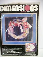 Unopened Dimensions No Count Cross Stitch Kit 3926 Flowers Doves Wreath Ribbons