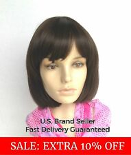 Natural Bob Pixie Lob Wig Black Brown Blonde Cosplay Costume Cap Heat Friendly