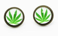 Weed Earrings White Weed Logo Funny Hipster Party Men Stud Hippie Chic Nightclub