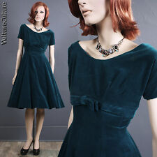 SALE Vintage 50s Pin Up Rockabilly Dress Dark Teal Velour Full Empire Party S/M