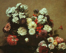 Stunning Oil painting Henri Fantin Latour - Still Life with Flowers canvas