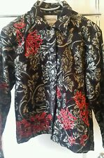 Chico's women's size 1 Jacket Blazer Coat Top black gold and red Medium