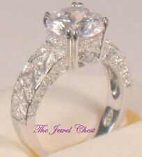3.50 Ct Round Solitaire Antique VVS1 Diamond Bezel Engagement Ring White Gold