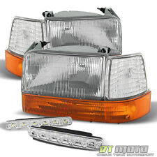 For 92-96 Ford Bronco F150 F250 F350 Corner Amber Headlight+Smd Bumper Fog Light