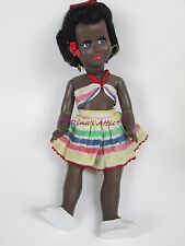"""Vintage 14"""" Samco Italy AA African American Hard Plastic Doll ~ Feathery Lashes"""