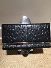 New JIMMY CHOO Black Embossed Leather MAIA Clutch Wallet Handbag $895