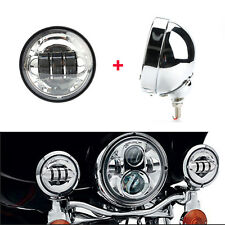 4.5'' Chrome Fog Light Outer Cover Housing Bracket Trim Passing Lamp for Harley