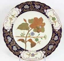 FAB STUDIO HAND PAINTED ANTIQUE STAFFORDSHIRE ENGLAND PLATE COBALT GOLD ENAMELED