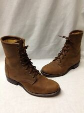Laredo Women's Western Mid Calf Lace Up Brown Leather Work Boots Sz 9.5 USA