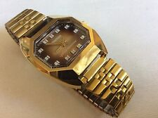 VTG retro Kronotron Lifetime mainspring watch gold tone stainless steel band new