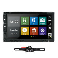 "Double 2 Din 7"" In Dash Stereo Car DVD Player Bluetooth Radio iPod SD/USB+Camera"