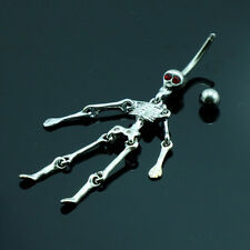 Human Skeleton Ball Button Barbell Bar stainless Belly Navel Ring 1Pc