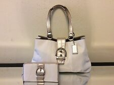 "Coach F18751 Soho White/Gold Leather Carryall/Tote/Purse 15"" x 9.5 & Wallet"