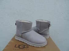 UGG OYSTER CLASSIC MINI DECO LEATHER/ SHEEPSKIN BOOTS, WOMENS US 7/ EUR 38 ~NEW