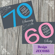10 Personalised Birthday Invitations Party 18th 21st 30th 40th 50th JC165