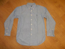 RALPH LAUREN BOYS STRIPED BLUE 100% COTTON LONG SLEEVE SHIRT SIZE 8 YEARS