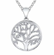 "Sterling Silver Cubic Zirconia Tree of Life  Pendant Necklace with 18""  Chain"