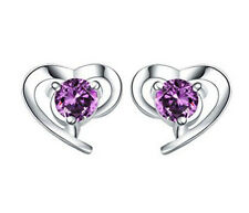 Fashion Women 925 Sterling Silver Plated Heart-Shaped Crystal Stud Earrings Gift