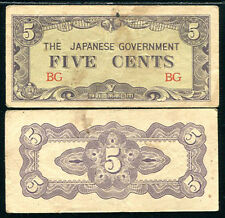 JAPANESE OCCUPATION BURMA 5 CENTS P 10 a CIRCULATED / HEAVY USED