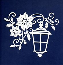 NEW COTTAGECUTZ LANTERN & POINSETTIA DIE CUTS  -WHITE FLOWER  CHRISTMAS TOPPER