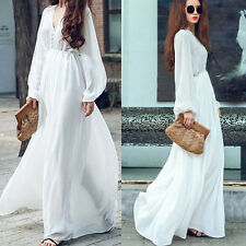 Summer Women White Chiffon Long Sleeve Boho Party Evening Beach Maxi Long Dress