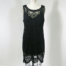 Free People Womens Shift Dress Black Lace Embroidered Mesh Boho Hippie Gypsy M