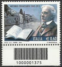 2011 - Centenario della morte di A. Fogazzaro con codice a barre - € 0,60 nuovo