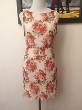 Alice + Olivia Size M Floral Silk Dress Elastic Waist Band Chic