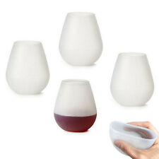 4 Pcs Silicone Wine Glass Unbreakable Outdoor Stemless Beer Whiskey Portable Cup