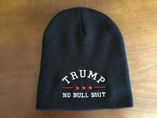 TRUMP NO BULLSHIT Black Embroidered  Beanie Cap Donald Trump 2016 Republican