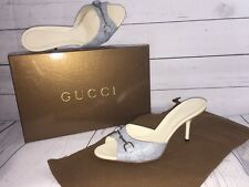NEW IN BOX WOMENS GUCCI GUCCISSIMA HEELS SHOES OPEN TOE SKY AZURE BLUE  6 1/2