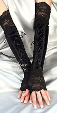 GOTH BLACK VELOUR LACE UP XX LONG FINGERLESS GLOVES ARM WARMERS