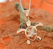 Rose Gold  Plated Turtle Pendant with Plumeria CZ-Turtle Necklace,Flower Necklac