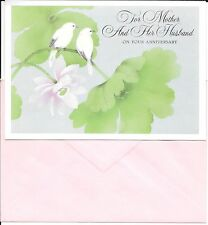 Happy Anniversary To Mother and Her Husband Lovebirds Ambassador Greeting Card