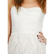NEW✿ Free People MINI DRESS 8 Ivory Lace Clubwear Strapless Tunic Top Shirt NWT