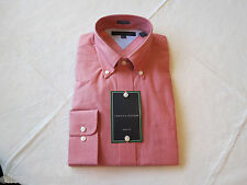 Tommy Hilfiger dress shirt long sleeve 094401 Crimson 15 1/2 32-33 slim fit Mens