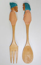 NEW VINTAGE AUDET WOODEN SALAD FORK SPOON SERVING SET French Country Canada