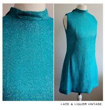 CUTE MOD vtg 1960s BLUE LUREX GLITTERY EVENING TUNIC TOP DRESS 8 GOGO