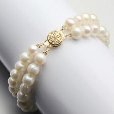 New AAA+ 2 Rows 7-8mm Natural White Akoya Freshwater Pearl Bracelet 7.5""
