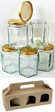 30 X 190ml 8oz HEXAGONAL PRESERVE HEX GLASS JAR JARS JAM HONEY & 10 X GIFT BOXES