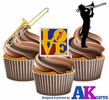 I Love Trombone Mix 12 Edible Stand Up Cup Cake Toppers Brass Band Decorations